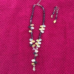"LARIAT NECKLACE and EARRINGS 16"" diameter"